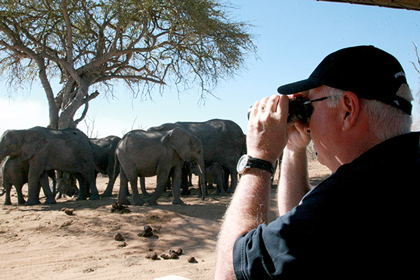 The author looks out over the herds of Amboseli's elephants.