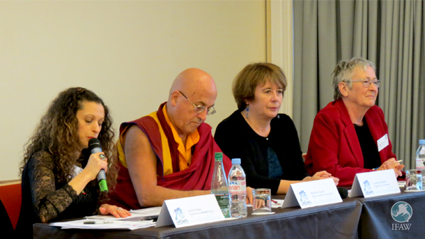 Lucille Peget of the Animal Politique coalition announces the manifesto at a press conference beside Buddhist monk Matthieu Ricard.