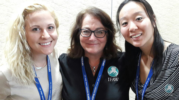 Josephine Crouch and Cécile Tang with IFAW Director of Education and Social Change Nancy Barr