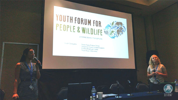 "Josephine Crouch and Cécile Tang speak at IFAW-sponsored side event ""Effective Partnerships for Youth Engagement in Biodiversity Conservation."""