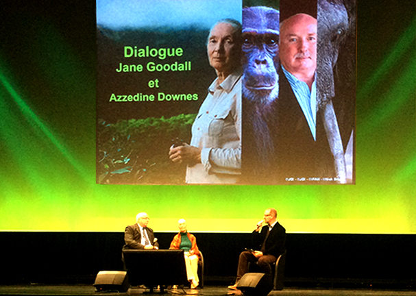 The author on stage with IFAW honorary board member Jane Goodall at the Cite de Sciences in Paris