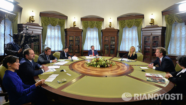 A recent meeting at the Kremlin Presidential Library.