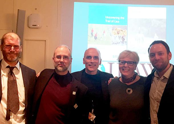 Joe Hashman, Jordi Casamitjana, Chris Williamson, Penny Little and Philip Mansbridge during the launch of the Trail of Lies report
