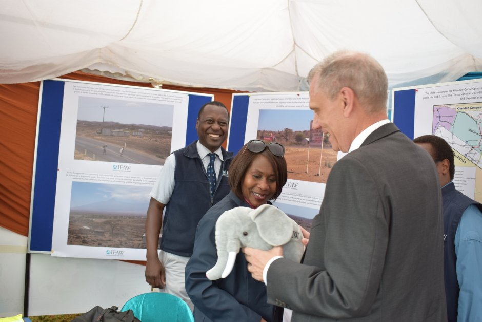 cabinet secretary in the ministry of environment and natural resources prof. judi wakhungu and u.s. ambassador to kenya robert f. godec with author james isiche