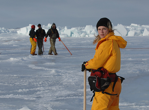 IFAW's Sheryl Fink observes the commercial harp seal hunt on Canada's East Coast. © IFAW