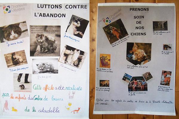 Les affiches créées, lors du temps périscolaire à Charleville-Mézières, et diffusées dans les points stratégiques de la ville.