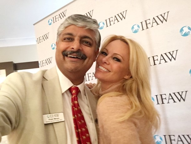 Vivek Menon and Pamela Anderson at the launch of the Russia Council in London.