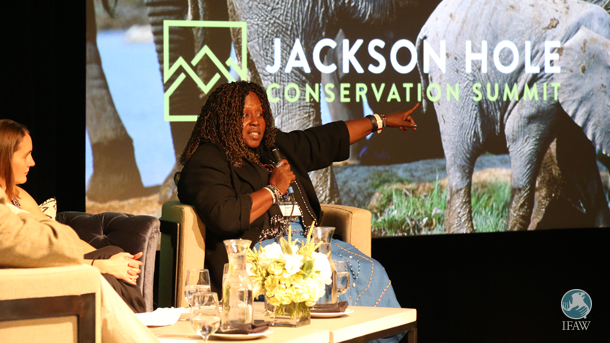 IFAW ambassador Patricia Awori addresses the 2016 Jackson Hole Elephant Summit delivering a message of hope.