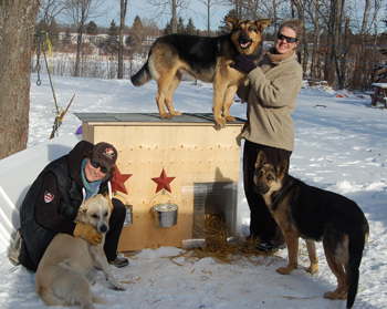 Jan, Stef and some of the dogs they're helping with your support.