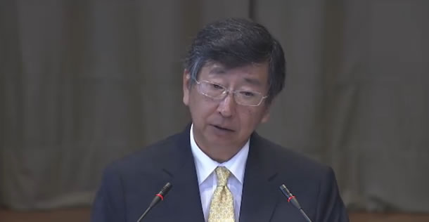 A member of the Government of Japan's legal team presents their case at the International Court of Justice. c. ICJ Media Center