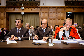 Members of the Delegation of Japan at the opening of the hearings in the case concerning Whaling in the Antarctic (Australia v. Japan; New Zealand intervening).  Copyright: UN Photo/ICJ-CIJ/ANPiO/Bas Arps. Courtesy of the ICJ. All rights reserved.