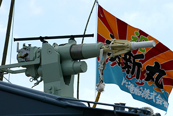 The loaded harpoon on a Japanese whaling vessel.