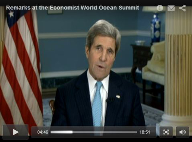 US Secretary of State John Kerry spoke eloquently on the topic of ocean conservation via video stream this week at The Economist's World Ocean Summit.