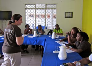 Teachers and Kara at the teacher training.