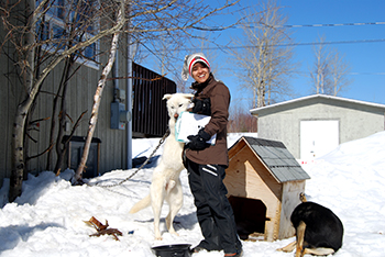 The author in James Bay, Quebec with First Nation dogs.