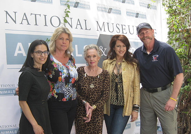 The author with fellow panelists Bobbi Brink, Tippi Hedren, Joely Fisher, and Tim Harrison.