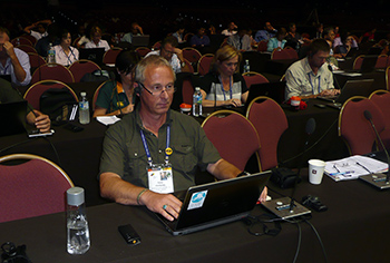 The author during the International Union for Conservation of Nature (IUCN) conference.