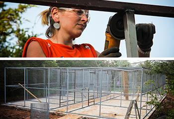 TOP: A member of the WildCare shelter rebuild team. BELOW: The repaired WildCare enclosure.