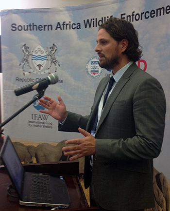 The author speaks to participants in the initiative to create a Wildlife Enforcement Network for Southern Africa (WEN-SA).