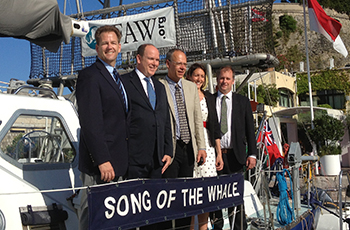 (L to R) IFAW Whale Program Director Patrick Ramage, HSH Prince Albert  II of Monaco, Whale Scientists Vassili Papastavrou and Anna Cucknell and Senior Skipper Richard McLanaghan aboard IFAW's Song of the Whale (Monaco, 23 June 2013).