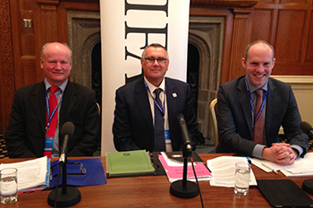 Left to Right: Charles MacKay, former Head of the CITES Unit at UK Border Force and current IFAW wildlife crime trainer, Robbie Marsland, UK Director of IFAW and Justin Tomlinson MP.