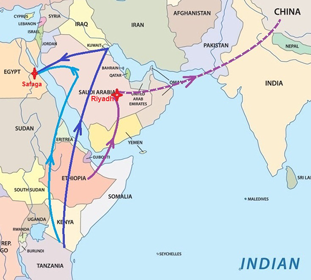 The map above shows possible trade routes from North East Africa through the Middle East into China.