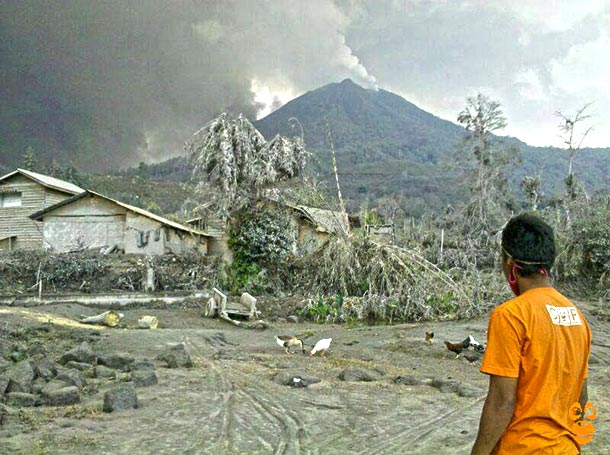 Mt. Kelud, an active volcano on the island of Java. c. COP