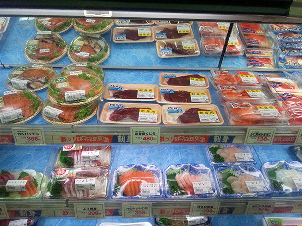Whale meat for sale in a Japanese market. c. IFAW