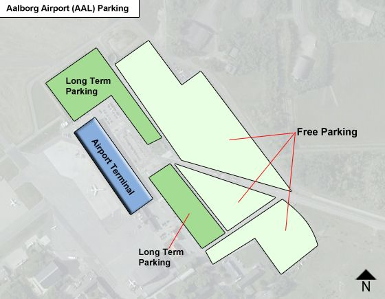 Aalborg AAL airport parking map