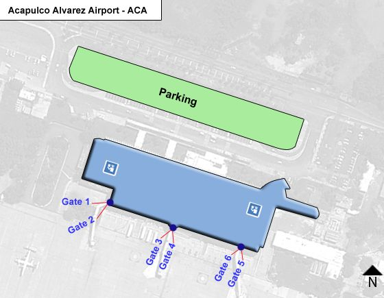 Amates, Acapulco, Gro.d Airport Overview Map