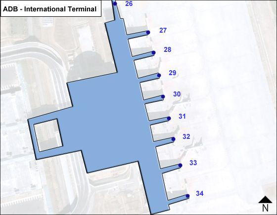 Gaziemir, Izmir Airport Intl Terminal Map