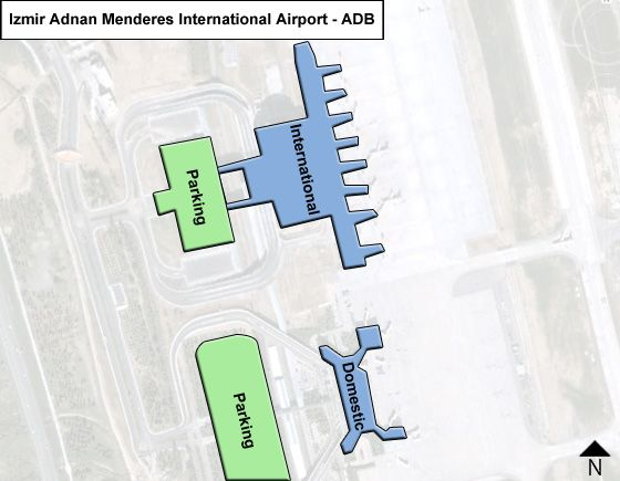 Gaziemir, Izmir Airport Overview Map
