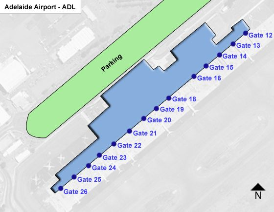 Adelaide, SA Airport Overview Map