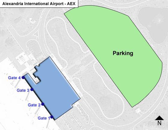 Alexandria England Airpark AEX Terminal Map
