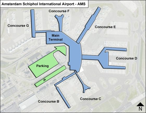 Amsterdam Schiphol AMS Terminal Map