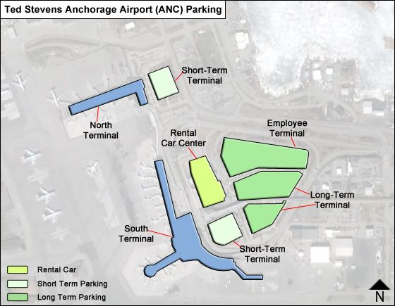 Ted Stevens Anchorage ANC airport parking map