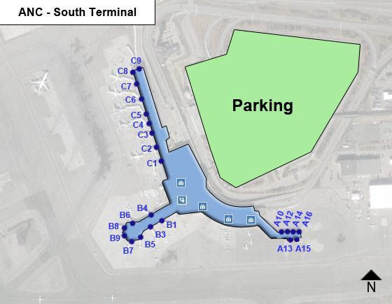 Ted Stevens Anchorage Airport Anc South Terminal Map