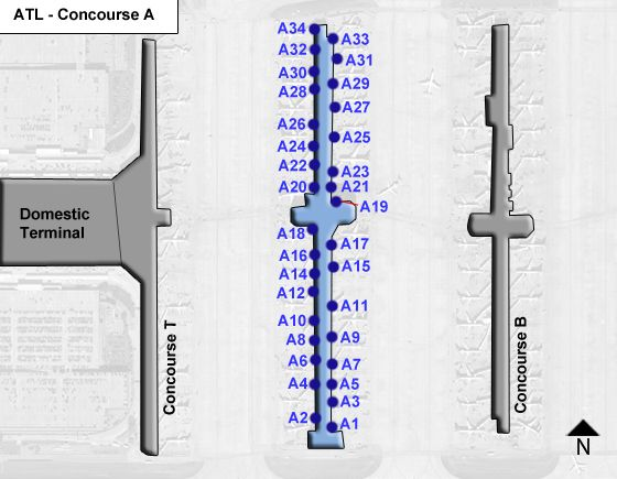 Atlanta Airport Concourse A Map