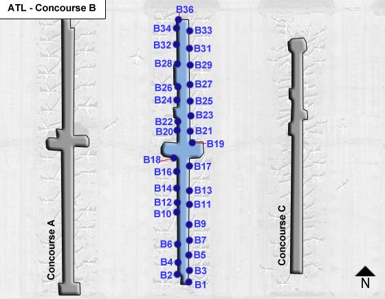 Atlanta Airport Concourse B Map