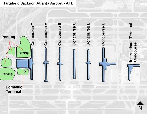 Atlanta Airport Domestic Terminal Map Hartsfield Jackson Atlanta ATL Airport Terminal Map