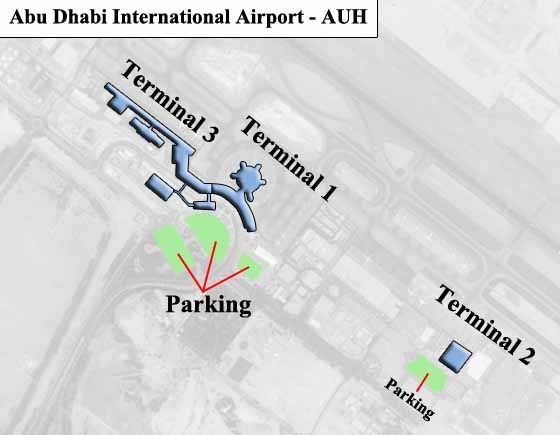 Abu Dhabi, UAE Airport Overview Map