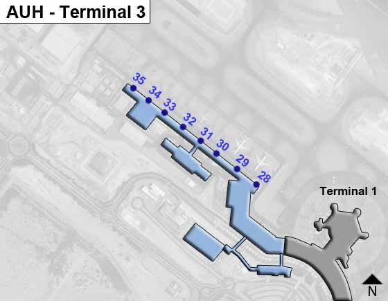 Abu Dhabi, UAE Airport Terminal 3 Map