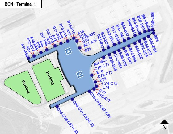 Viladecans, Catalonia Airport Terminal 1 Map