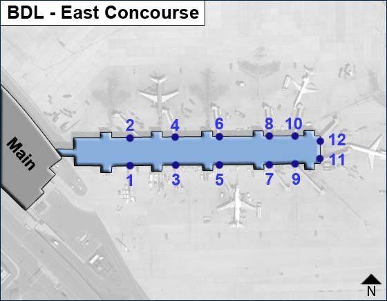 Windsor Locks Airport East Concourse Map