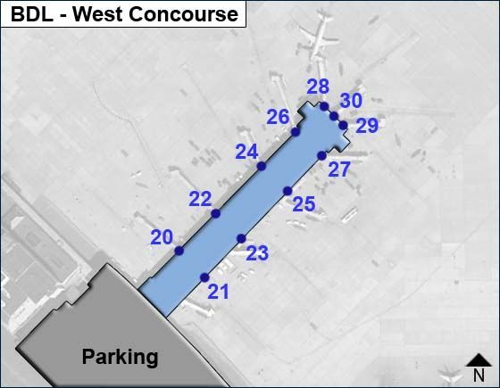 Windsor Locks Airport West Concourse Map