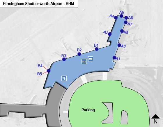 birmingham al airport map Birmingham Shuttlesworth Bhm Airport Terminal Map birmingham al airport map