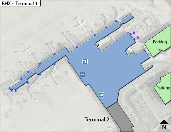 Solihull Borough, West Midlands Airport Terminal 1 Map