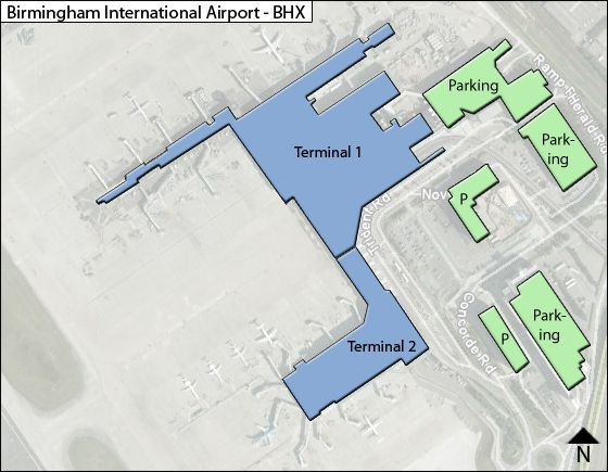 Birmingham-UK BHX Airport Terminal Map