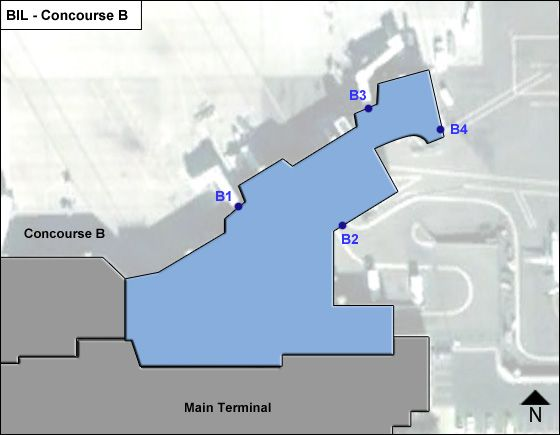 Billings Airport Concourse B Map