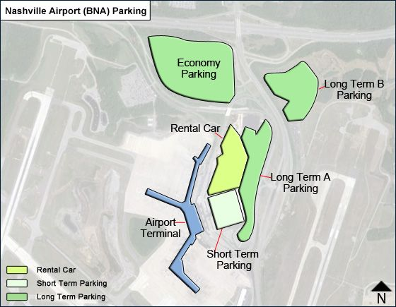 Nashville BNA airport parking map